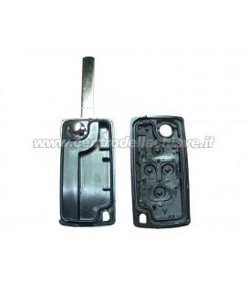 guscio 4 tasti chiave flip Citroen/Peugeot - VA2 - batteria sul guscio (con sede per logo)