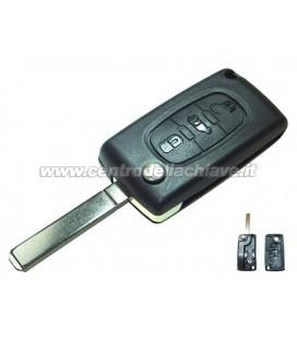 guscio 3 tasti chiave flip Citroen/Peugeot - VA2 - batteria sul guscio