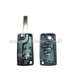 guscio 3 tasti chiave flip Citroen/Peugeot - HU83 - batteria sul guscio