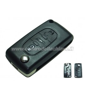 guscio 3 tasti (B) chiave flip Citroen/Peugeot - senza lama chiave - batteria sul guscio
