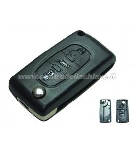 guscio 3 tasti (B) chiave flip Citroen/Peugeot - senza lama chiave - batteria sulla scheda elettronica