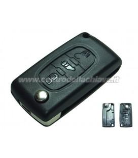guscio 3 tasti (P) chiave flip Citroen/Peugeot - senza lama chiave - batteria sulla scheda elettronica