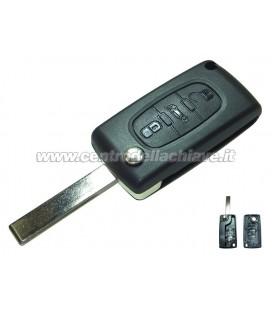guscio 3 tasti (B) chiave flip Citroen/Peugeot - HU83 - batteria sul guscio