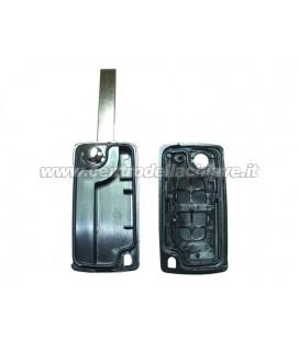 guscio 2 tasti chiave flip Citroen/Peugeot - HU83 - batteria sulla scheda elettronica