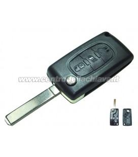 guscio 3 tasti (F) chiave flip Citroen/Peugeot - VA2 - batteria sul guscio