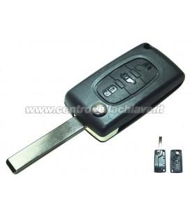 guscio 3 tasti chiave flip Citroen/Peugeot - HU83 - batteria sulla scheda elettronica
