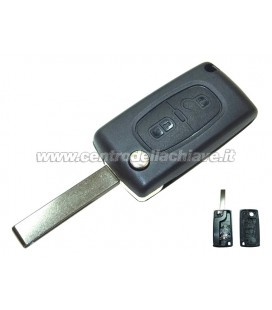 guscio 2 tasti chiave flip Citroen/Peugeot - HU83 - batteria sul guscio