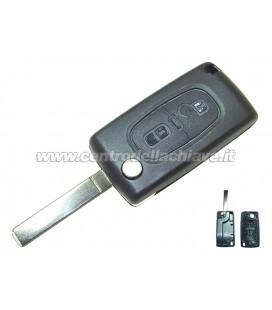 guscio 2 tasti chiave flip Citroen/Peugeot - VA2 - batteria sulla scheda elettronica