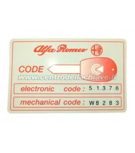 CODICE PIN ALFA ROMEO